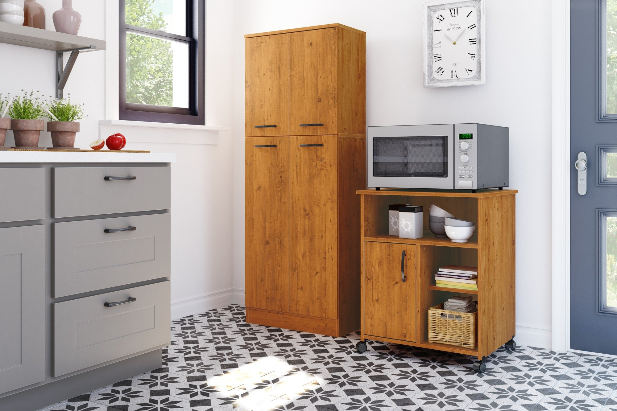 South Shore Axess Microwave Cart with Storage on Wheels, Country Pine by South Shore (Image #3)