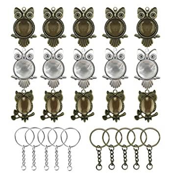 50 PCS Owl Pendant Trays Kit Different Shape Pendant Blank Bezels for Jewelry Making Woohome 20 PCS Owl Pendant Trays with 20 PCS Glass Dome Tiles Clear Cameo 10 PCS Pendant Buckle