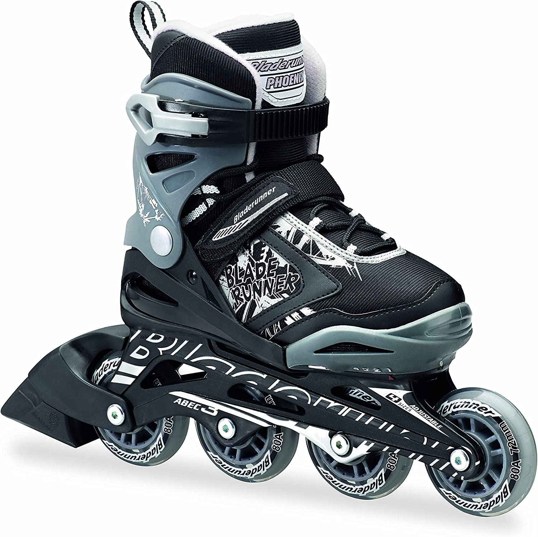 Bladerunner by Rollerblade Phoenix Boys Adjustable Fitness Inline Skate, Black and Silver, Junior, Value Performance Inline Skates