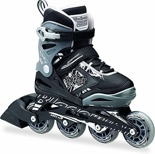 Rollerblade Bladerunner Phoenix Boys Adjustable Fitness Inline Skate, Black and Silver, Junior, Value Performance Inline Skates