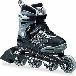 Rollerblade Bladerunner Phoenix Boys Adjustable Fitness Inline Skate, Black and Silver, Junior, Value Performance Inline Skates