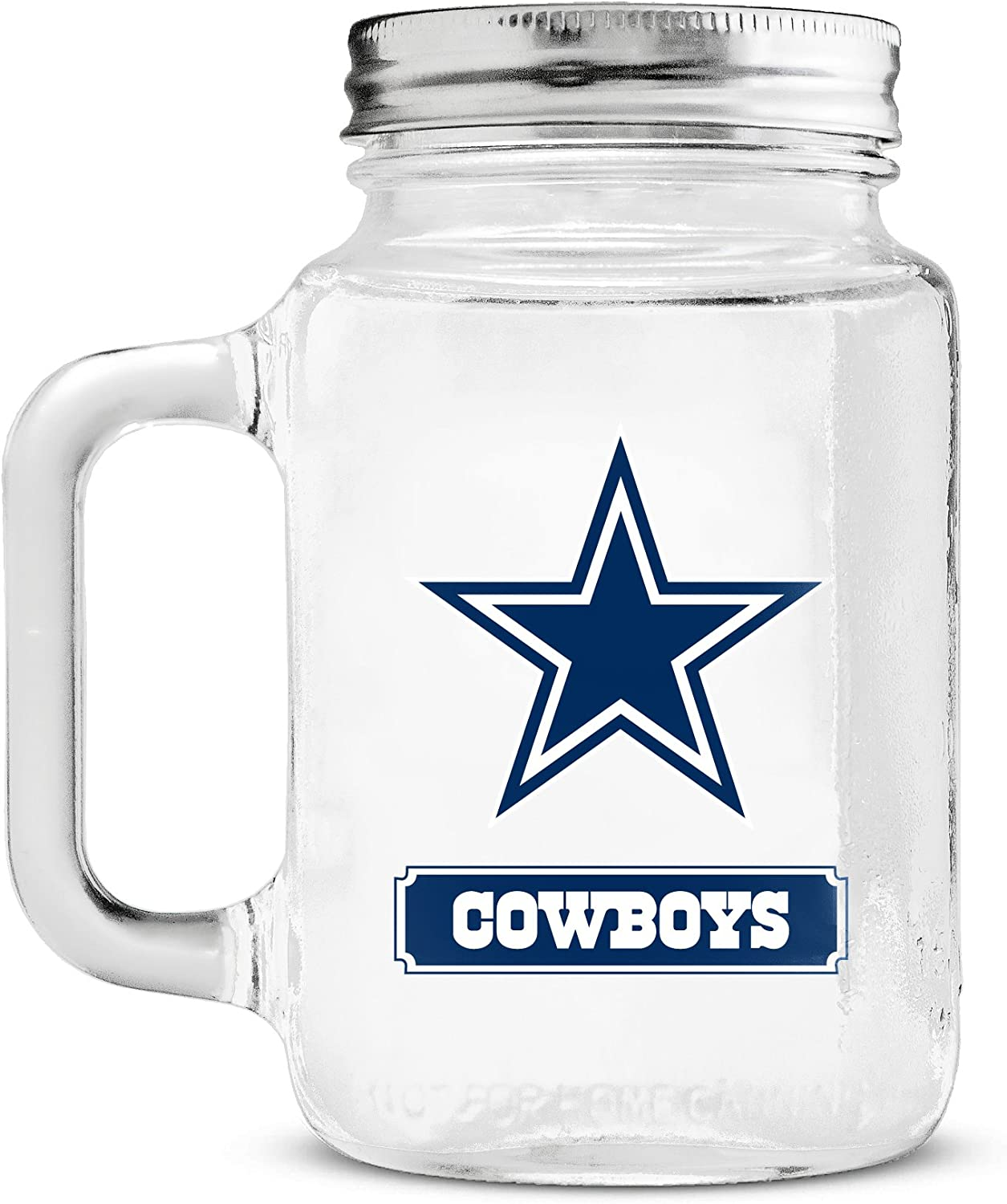Duck House NFL Fan Shop NFL Glass Mason Jar with Handle   Great for Drinking Beverages   Stainless Steel Lid   Food Storage   BPA-Free