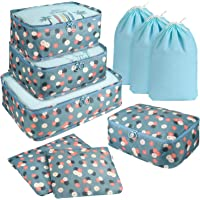 DIMJ 9 Set Packing Cubes, Travel Cubes Luggage Packing Organizers Accessories with Large Flat Bags & Laundry Shoe Bags…