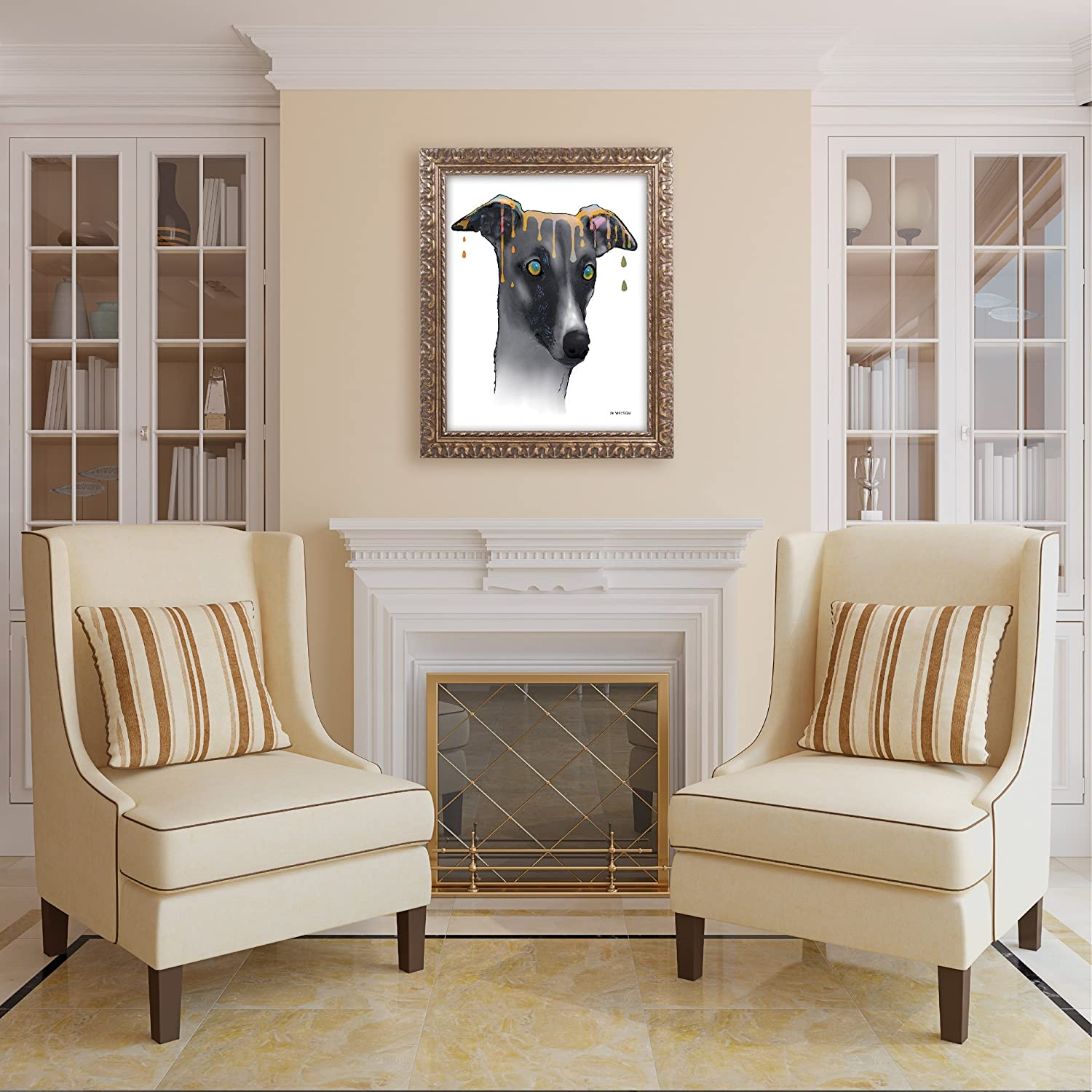 Amazon Com Greyhound Artwork With Ornate Frame By Marlene Watson 16 By 20 Gold Ornate Frame Home Kitchen