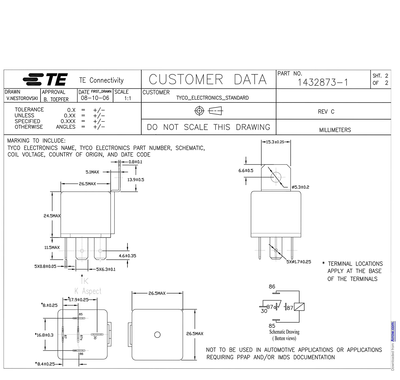 Te Connectivity Pb Relay 1 Form C Spdt 6v Dc Dpdt 12vdc 30a General Purpose Power Circuit Diagram Automotive Bracket Pack Of 2 Industrial Scientific