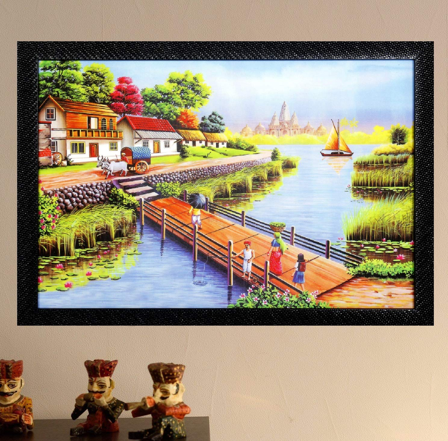 Dmt natural river and village hd printed picture framed wall art painting synthetic without glass 12 x 18 inch amazon in home kitchen