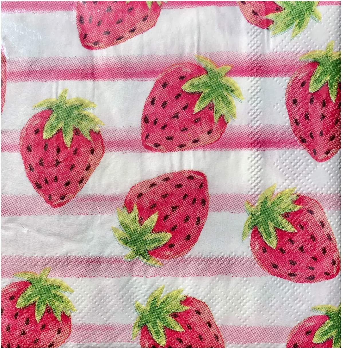 Cypress Home Stripes and Strawberries Cocktail Beverage Paper Napkins, 40 ct