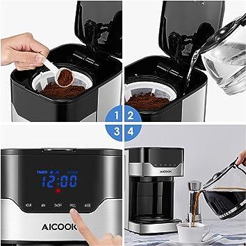 Cafetera Aicook Cafetera Goteo para 12 Tazascon con Temporizador ...