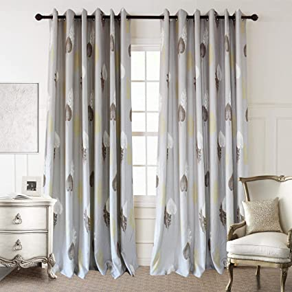 Anady Top White/Brown/Yellow Leaf Curtains 2 Panels Soft Grey Curtains  Drapes for Living Room Grommet Top 63 inch Long