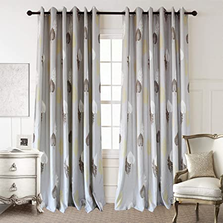 Anady Top White Brown Yellow Leaf Curtains 2 Panels Soft Grey Curtains Drapes for Living Room Grommet 84 inch Long