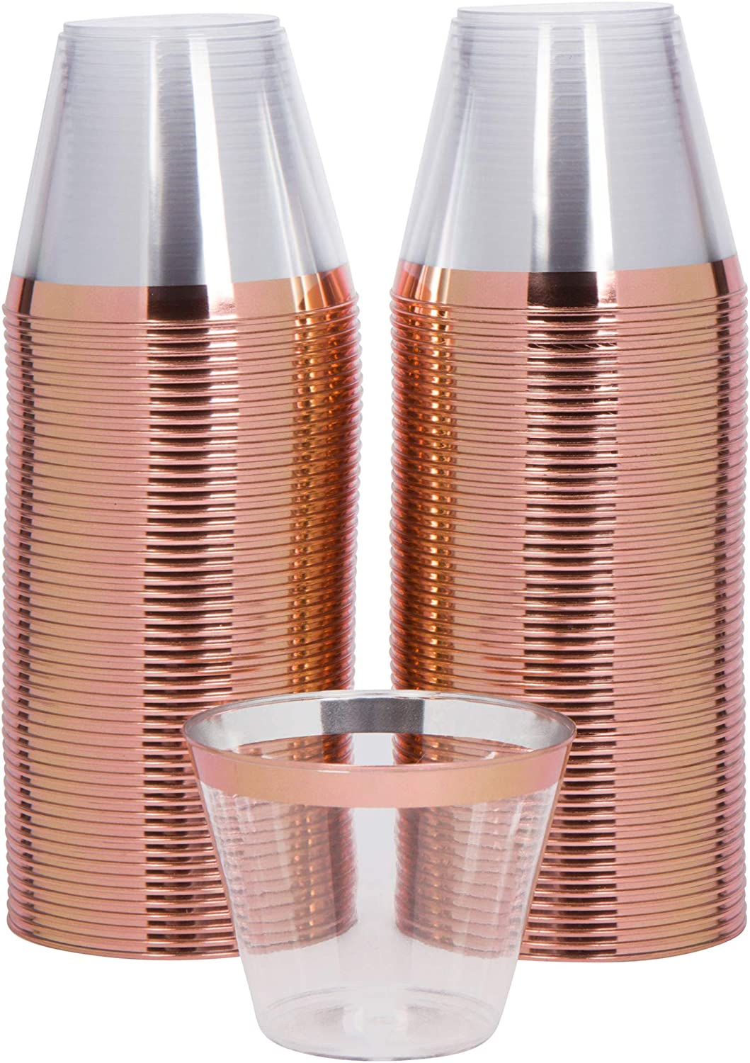 100 Rose Gold Plastic Party Cups 9oz | Perfect for Bridal Shower, Wedding, Parties | Fancy Disposable Glasses Make Great Decor for any Occasion