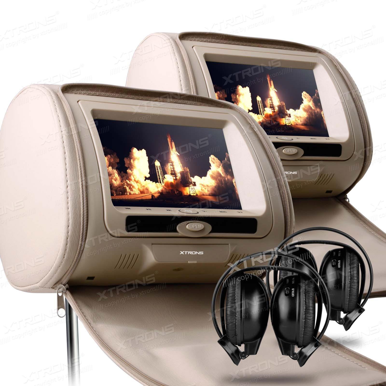 XTRONS Beige 2X Twin Car Headrest dvd player Multi-Media USB SD Slot 7'' HD Screen Game Disc IR Headphones