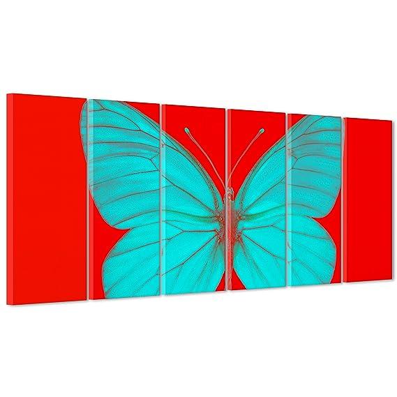 Cadre sur châssis toile canvas - - Prêt à accrocher - Damien Hirst -  Papillon - bicromia - Art Abstrait 190x70cm  Amazon.fr  Cuisine   Maison bc0538ec63d