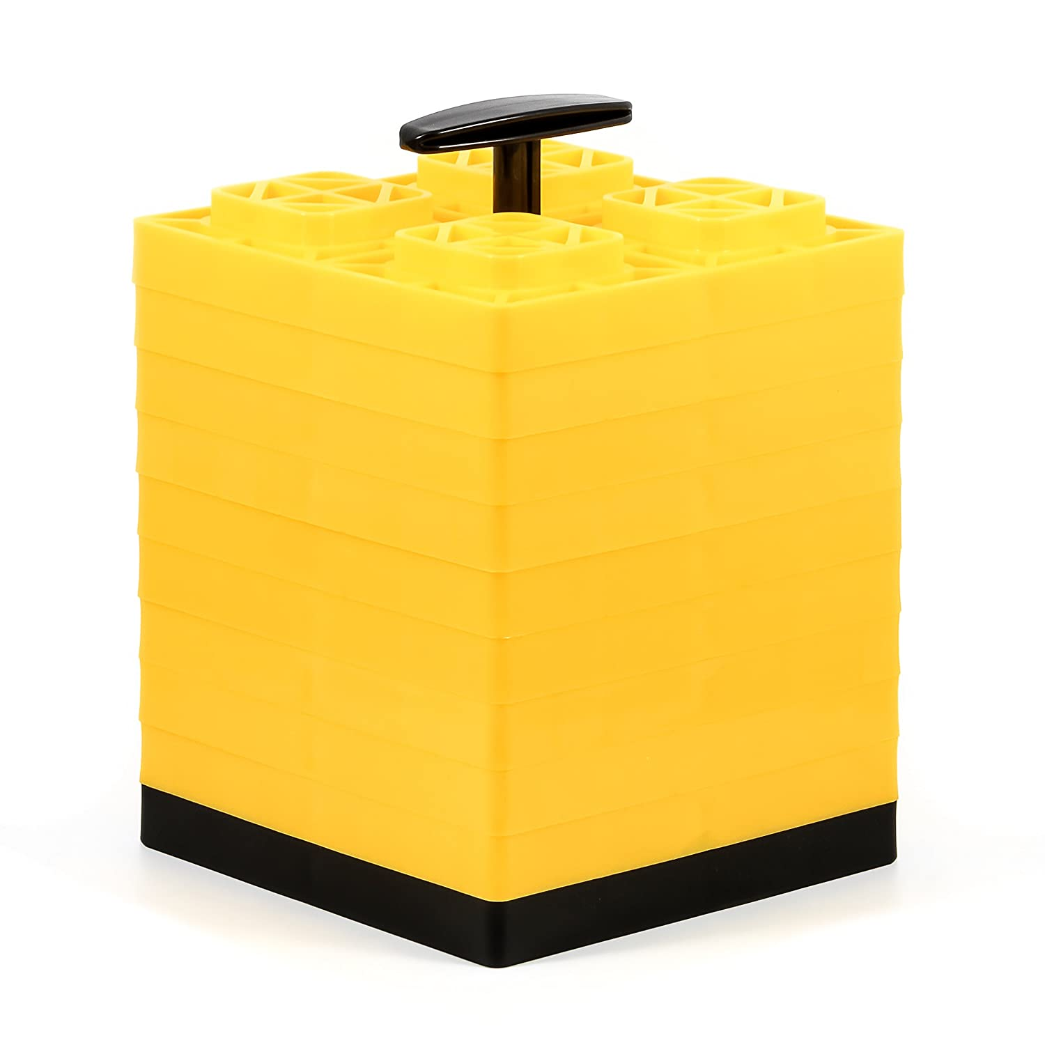 21022 Camco Fasten 2x2 Leveling Block for Single Tires-Interlocking Design Allows Stacking to Desired Height-Includes Secure T-Handle Carrying System-Yellow-10 Pack