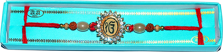 American Diamonds And Rudraksh Rakhi With Ek Omkar On Golden Pendant