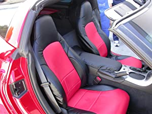 Iggee 2005-2013 Chevy Corvette C6 Artificial Leather Custom Made Original fit Front Seat Covers (Black/RED)