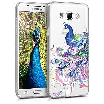 kwmobile Funda compatible con Samsung Galaxy J7 (2016) - Carcasa de [TPU] y diseño de pavo real en [multicolor / transparente]