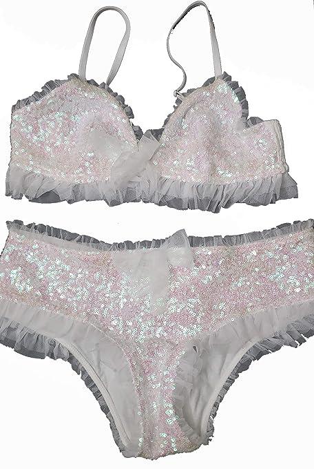 c8514e018fc9d3 Victorias Secrets Women s Sequin Bralette   Hiphugger Set Large White at  Amazon Women s Clothing store