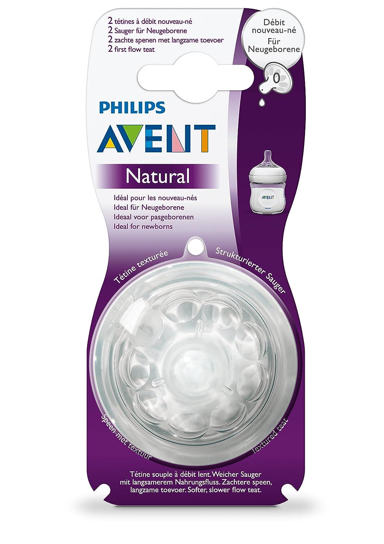 Philips Avent Natural SCF657/27 - Tetina para biberón, Silicona, flujo extra lento, desde 0 meses, paquete de 2