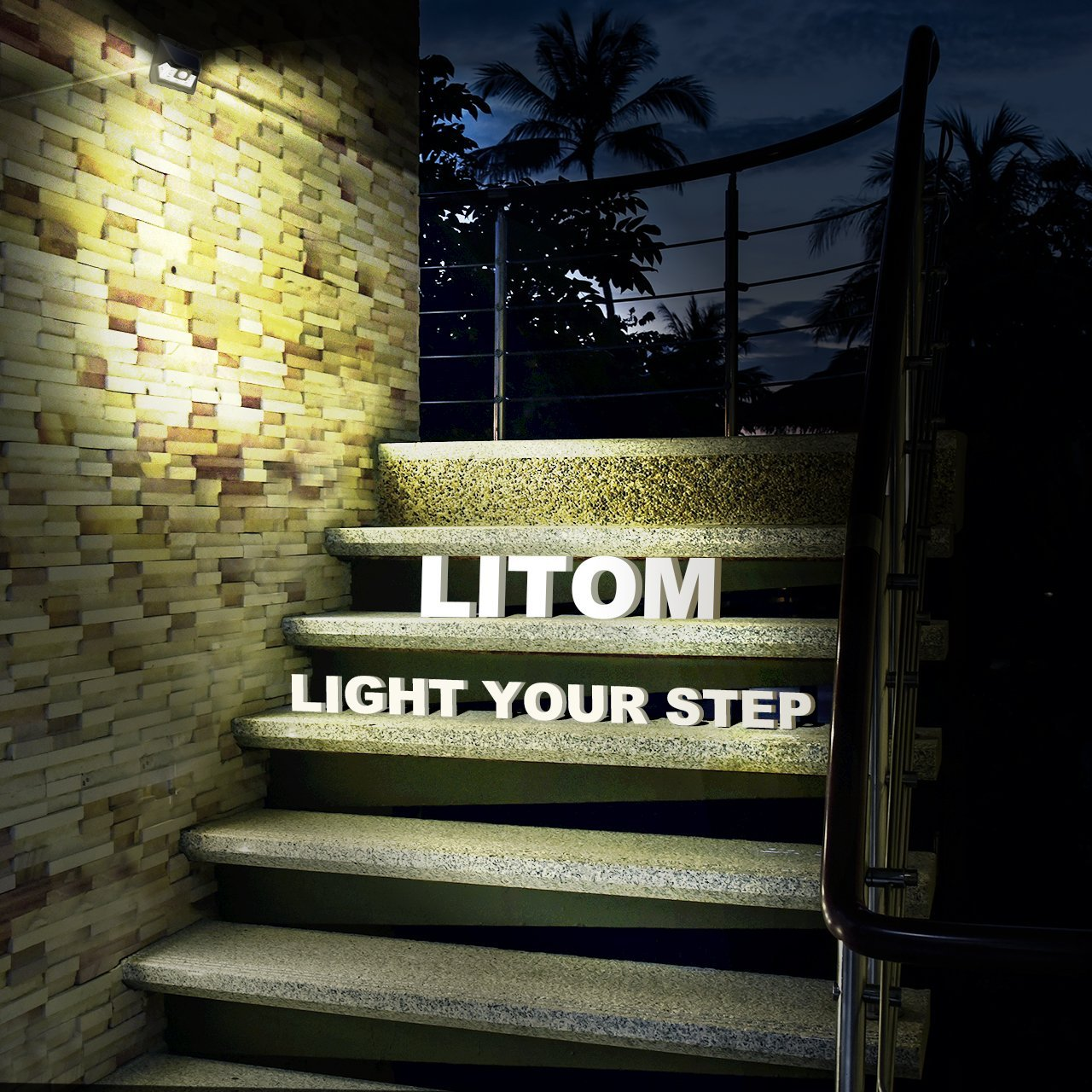 LITOM Solar Lights Outdoor, Wireless LED Solar Motion Sensor Lights with Wide Angle, IP65 Waterproof Security Lights for Front Door Yard Garage Deck Porch Shed Walkway Fence (4 Pack) by Litom (Image #7)