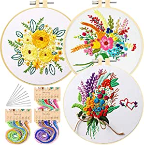 3 Pack Embroidery Starter Kit with Pattern and Instructions 3 Full Range Stamped Embroidery Clothes with Plants Floral Pattern, 1 Embroidery Hoop, Color Threads and Tools