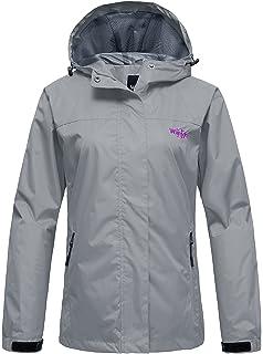 619f95172 Wantdo Women's Breathable Waterproof Rain Jacket Outdoor Windproof  Sportswerar for Hiking Softshell Windbreaker with Hood