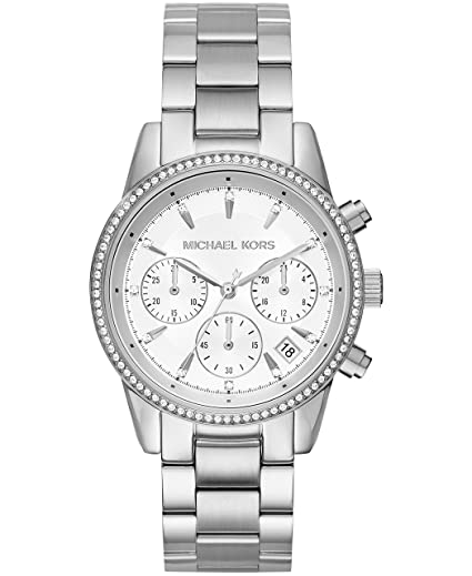 99749f2464ad Amazon.com  Michael Kors Women s Ritz Silver-Tone Watch MK6428  Michael Kors   Watches