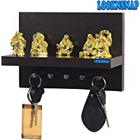 LookNSnap Wooden Wall Mounted Key Holder with Decor Shelf (5 Hooks, Wenge)