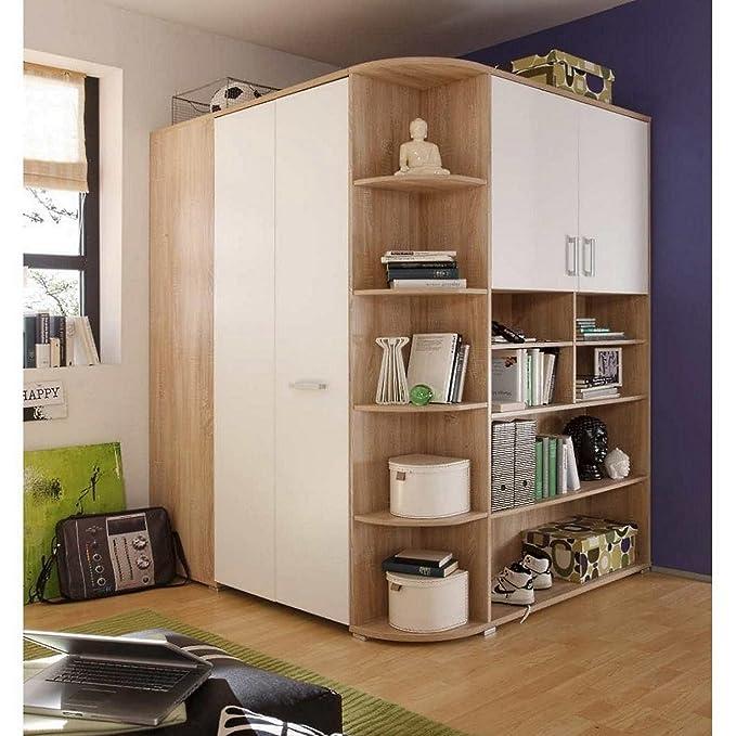Häufig Bett/Kojenbett ausziehbar und begehbarer Kleiderschrank Eiche Weiß OT79