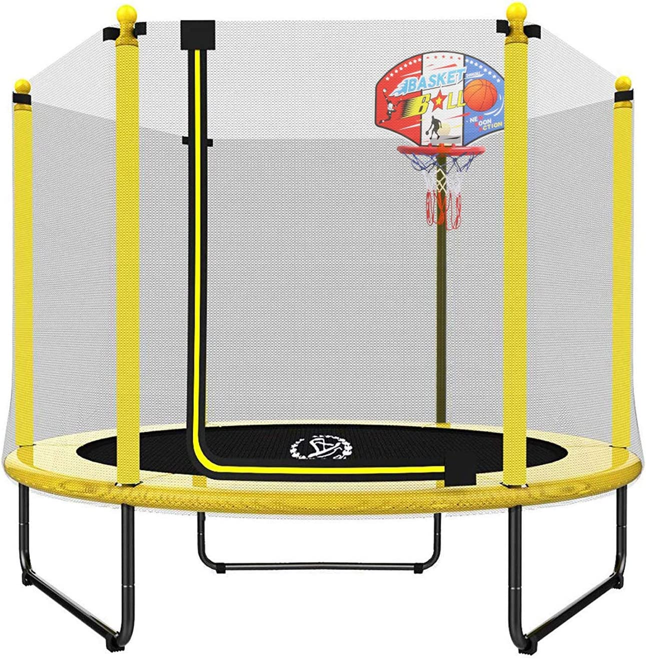 Langxun 60 Trampoline For Kids 5ft Outdoor Indoor Mini Toddler Trampoline With Enclosure Basketball Hoop Birthday Gifts For Kids Gifts For Boy And Girl Baby Toddler Trampoline Toys