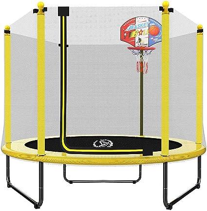 Langxun Trampolín De 59 8 In Para Niños Mini Trampolín Interior Y Exterior Con Recinto Aro De Baloncesto Regalos De Cumpleaños Para Niños Regalos Para Niños Y Niñas Juguetes De Trampolín