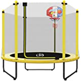 "LANGXUN 60"" Trampoline for Kids - 5ft Outdoor & Indoor Mini Toddler Trampoline with Enclosure, Basketball Hoop, Birthday Gift"
