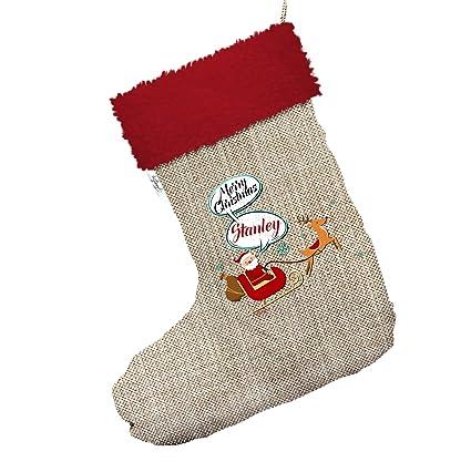 Papá Noel y Rudolph personalizable tamaño grande de arpillera de Navidad calcetines de medias con ribete