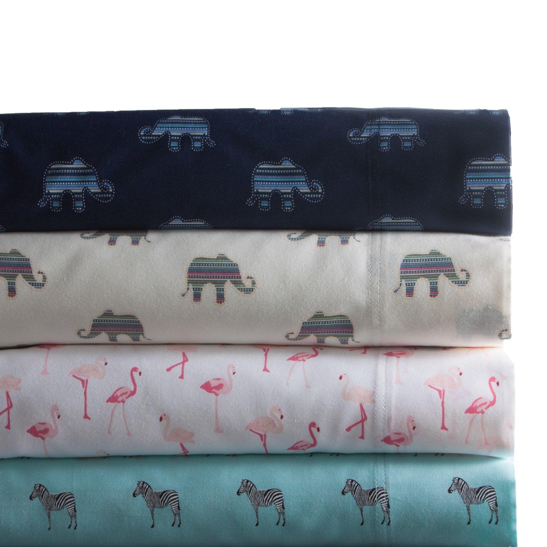 Beautiful Elegant Gorgeous Stylish King Size 4 Piece Indigo Color Sheet Set Animal Print Attractive Colorful Design