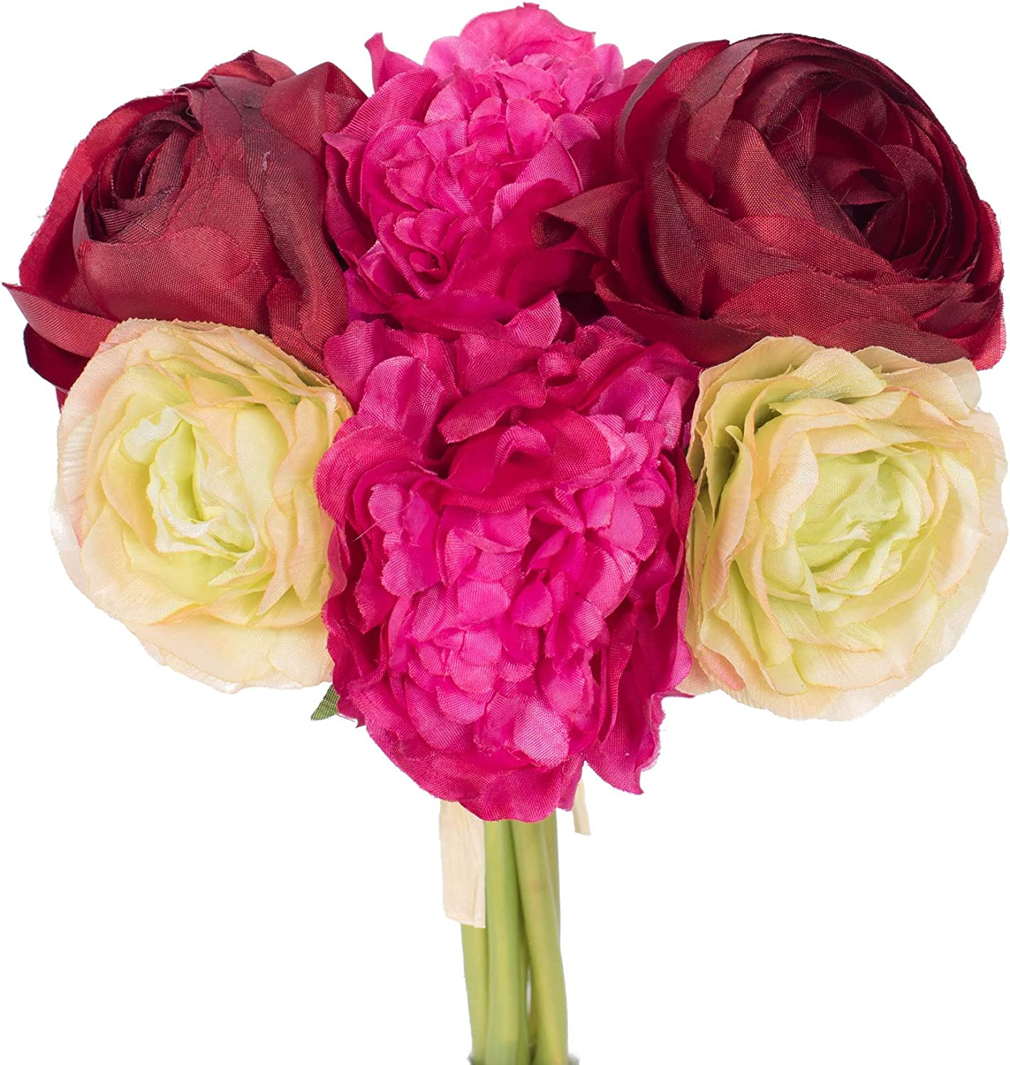 """Vickerman 8"""" Polyester Ranunculus and Peony Bouquet. Artificial-Flowers, 8"""", Burgundy"""