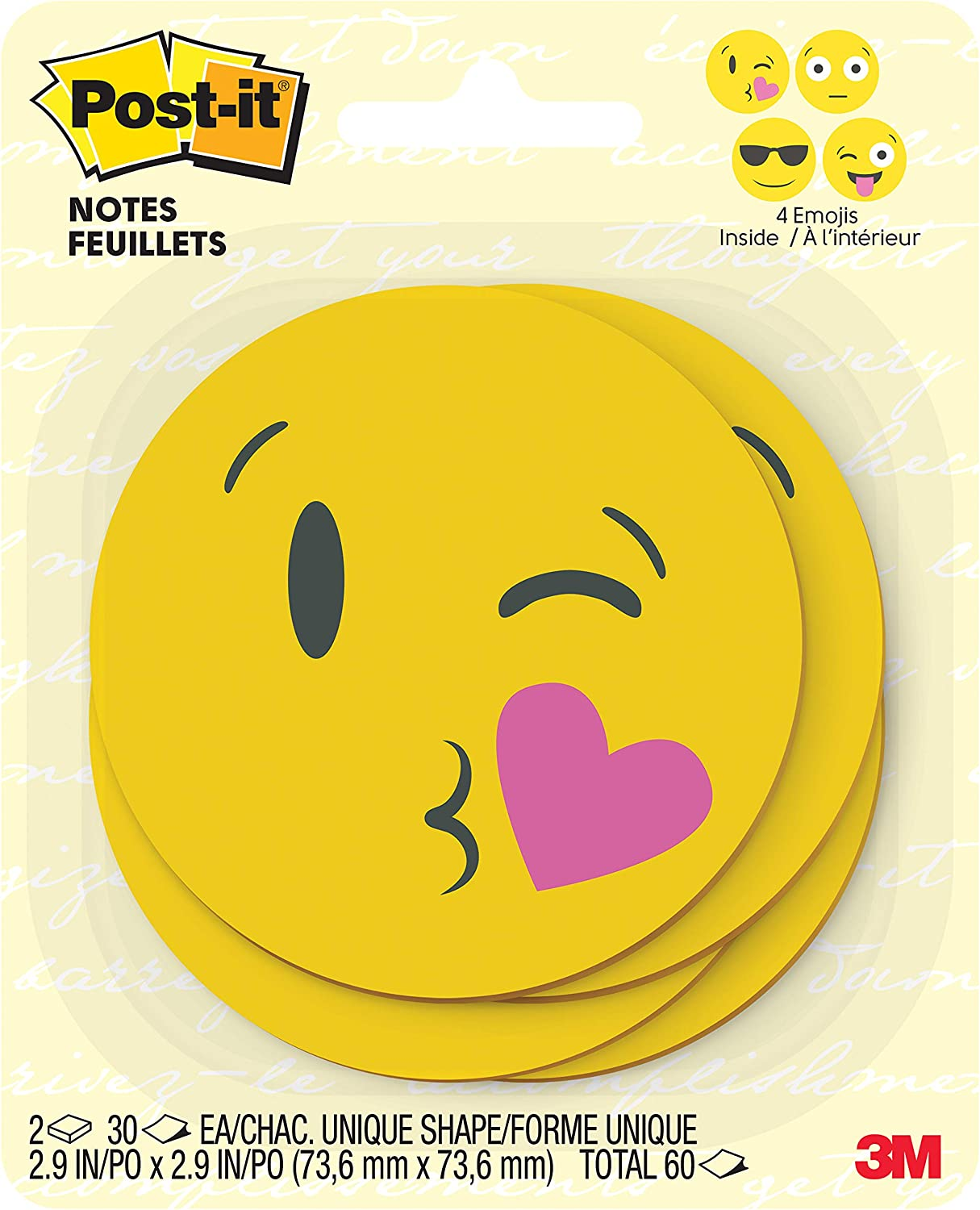 Post-it Printed Notes, 3 in x 3 in, Emoji designs, 4 alternating faces, 2 Pads/Pack, 30 Sheets/Pad (BC-2030-EMOJI)