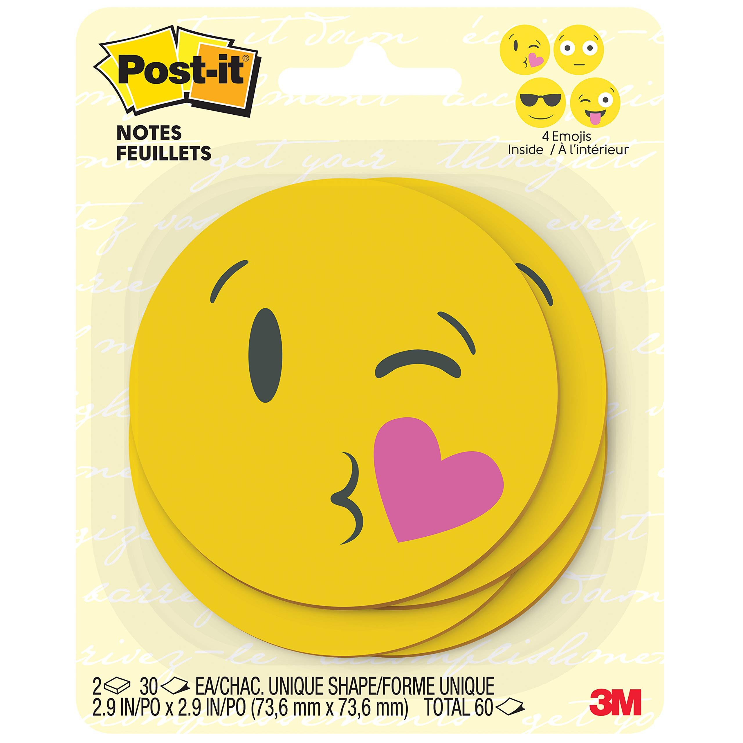 Post-it Printed Notes, 2 Pads/Pack, 30 Sheets/Pad, 3x3 in, Emoji designs, 4 alternating faces (BC-2030-EMOJI) , Yellow