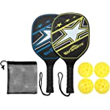 Win SPORTS Wooden Pickleball Paddle Set | Beginner Racket | Pickle Ball Paddles with 2 Paddles,4 Balls and 1 Carry Bag…