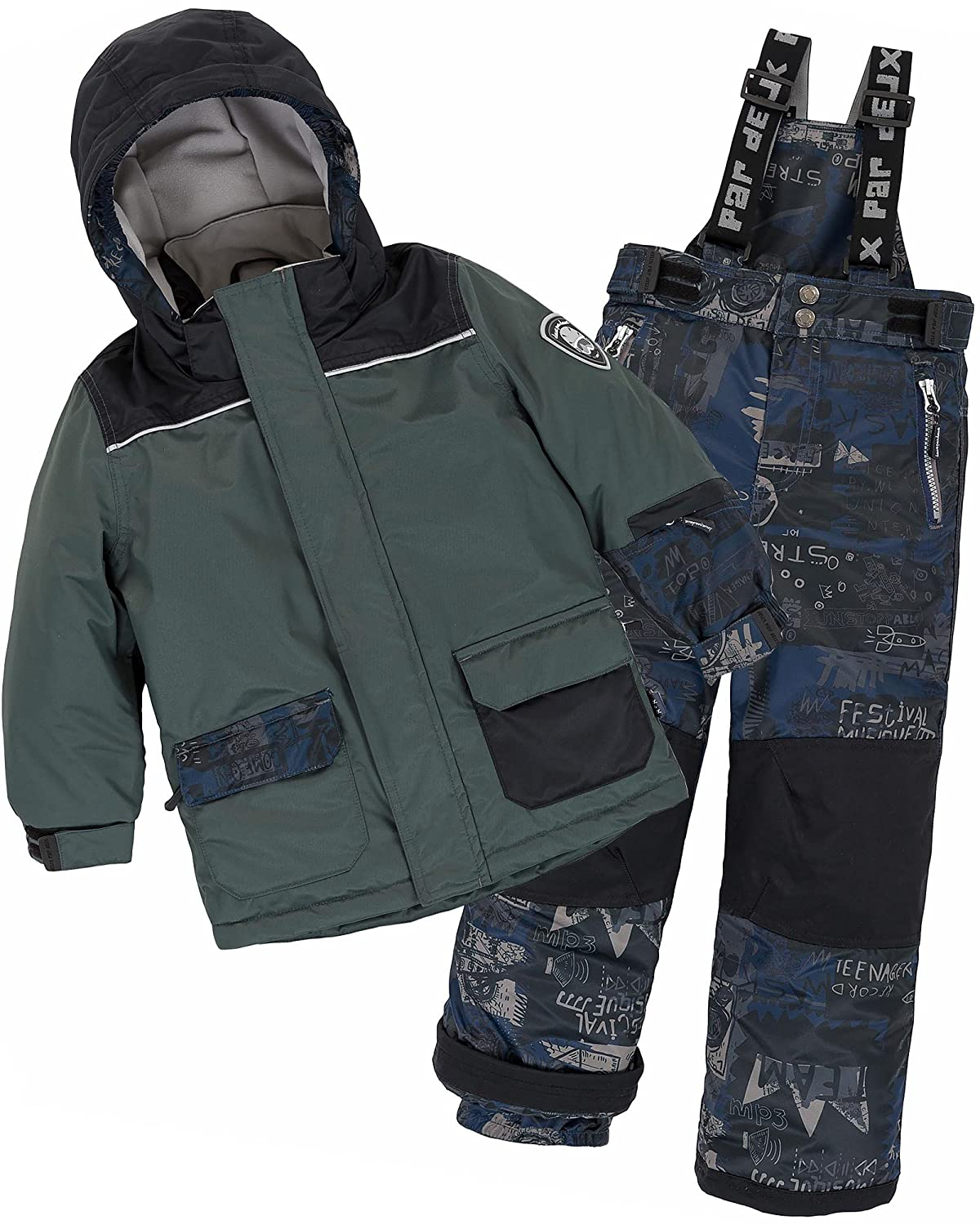 Deux par Deux Boys' 2-Piece Snowsuit Hey Mr Dj Green, Sizes 4-14