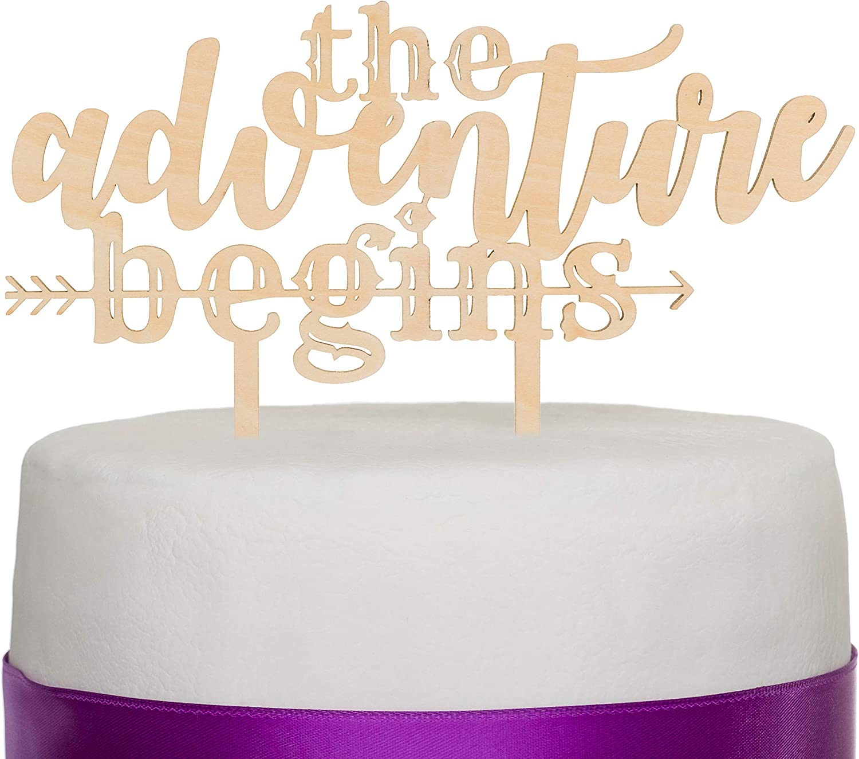Ella Celebration The Adventure Begins Wooden Wedding Cake Topper, IMPROVED Arrow Rustic Wood Decoration 8 Inch Width (Adventure Begins)