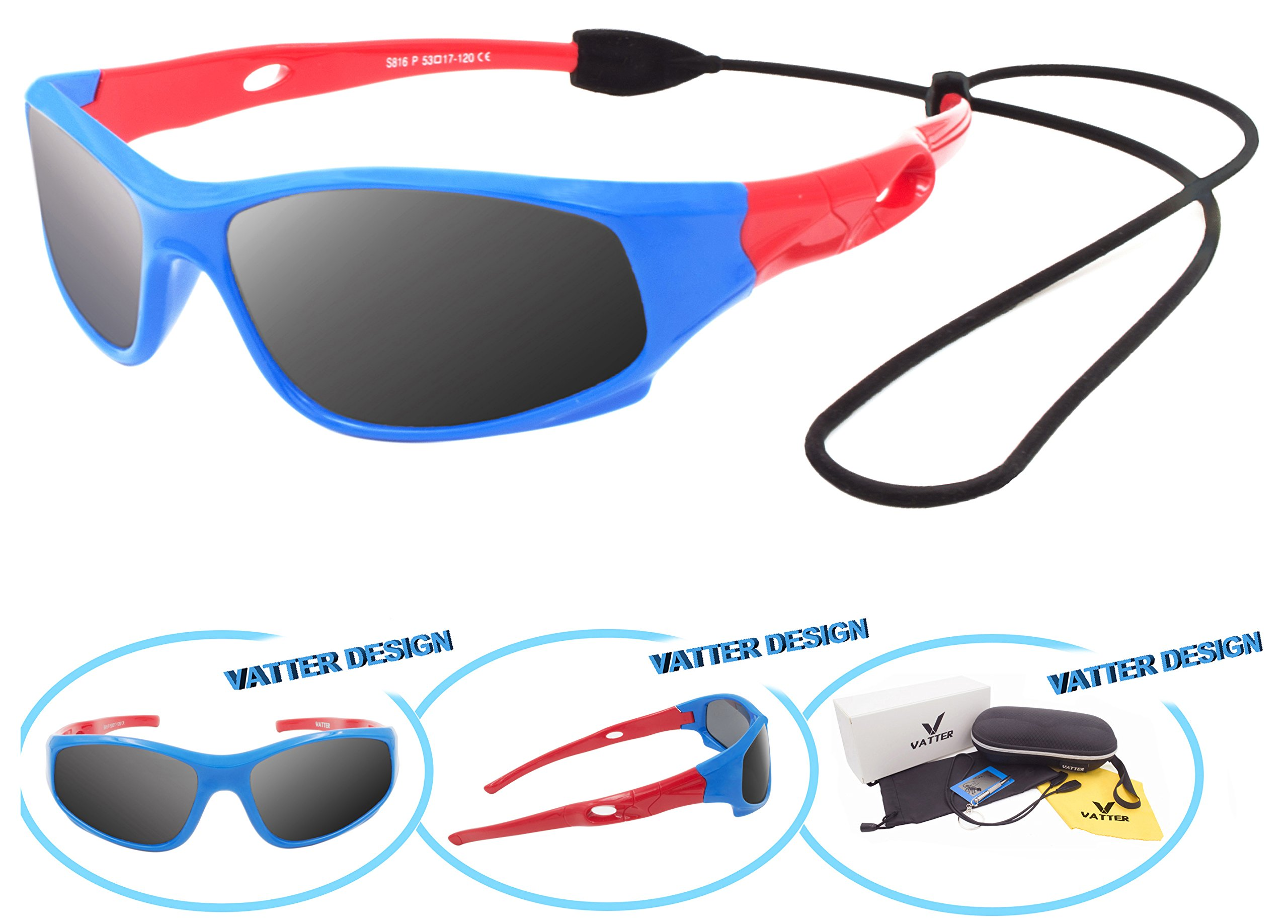 VATTER TR90 Unbreakable Polarized Sport Sunglasses For Kids Boys Girls Youth 816bluered