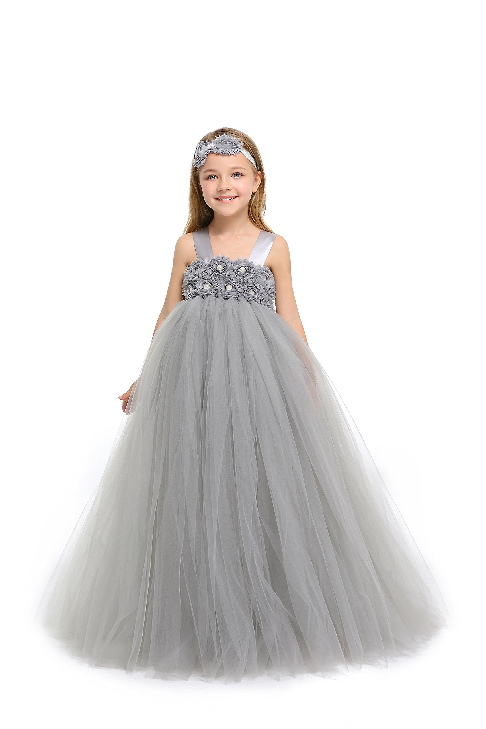 MALIBULICo Fluffy Flower Girl Tutu Dress with Matching Headband for Wedding and Birthday Party by MALIBULICo (Image #1)