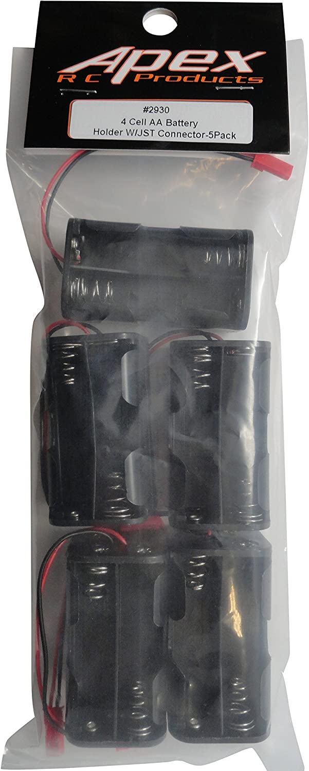 5 Pack 4 Cell 4.8V AA Battery Holder W// JST Connector Receiver Battery Pack Apex RC Products #2930