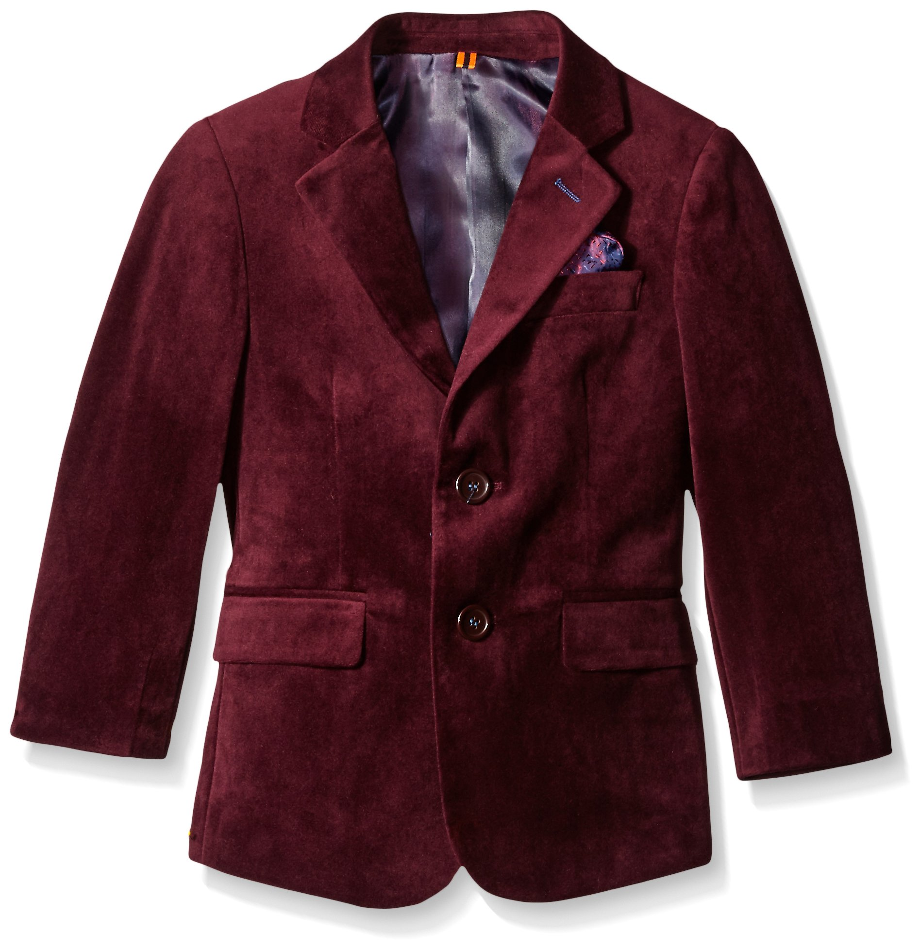 Isaac Mizrahi Boys' Big Boys' Single-Breasted Velvet Blazer, Burgundy, 16 by Isaac Mizrahi