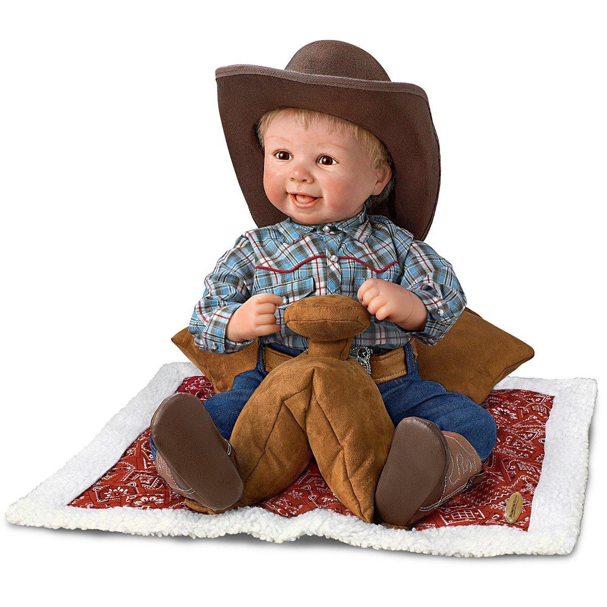 18'' Sherry Rawn Baby Cowboy Doll with Saddle Display by The Ashton-Drake Galleries by The Ashton-Drake Galleries