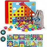 Fansteck Tablero de Mosaicos Infantiles, Puzzle 3D, Rompecabezas Niños de Uñas Setas, Tablero de Coincidir colores con 46 botones y 12 imágenes, Juguete Educativo Temprano para niños y bebés de 3+años