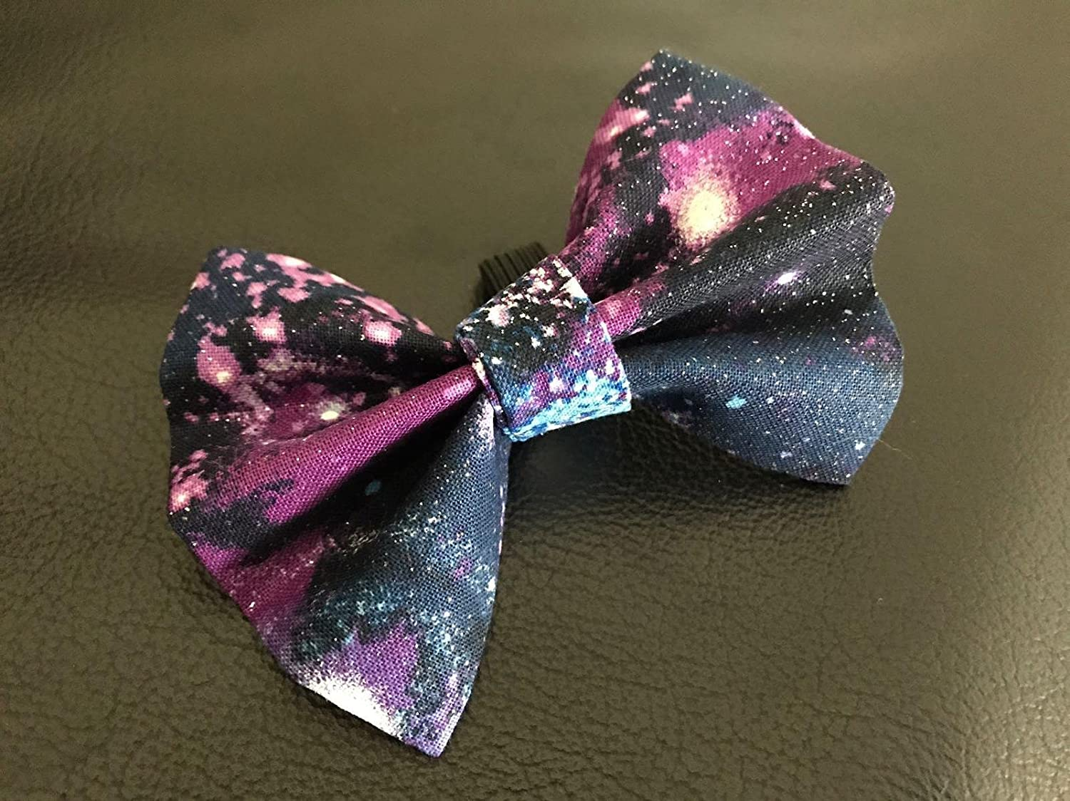 Dog Bow Tie in Black and Purple Cosmic Stars Outer Space Galaxy