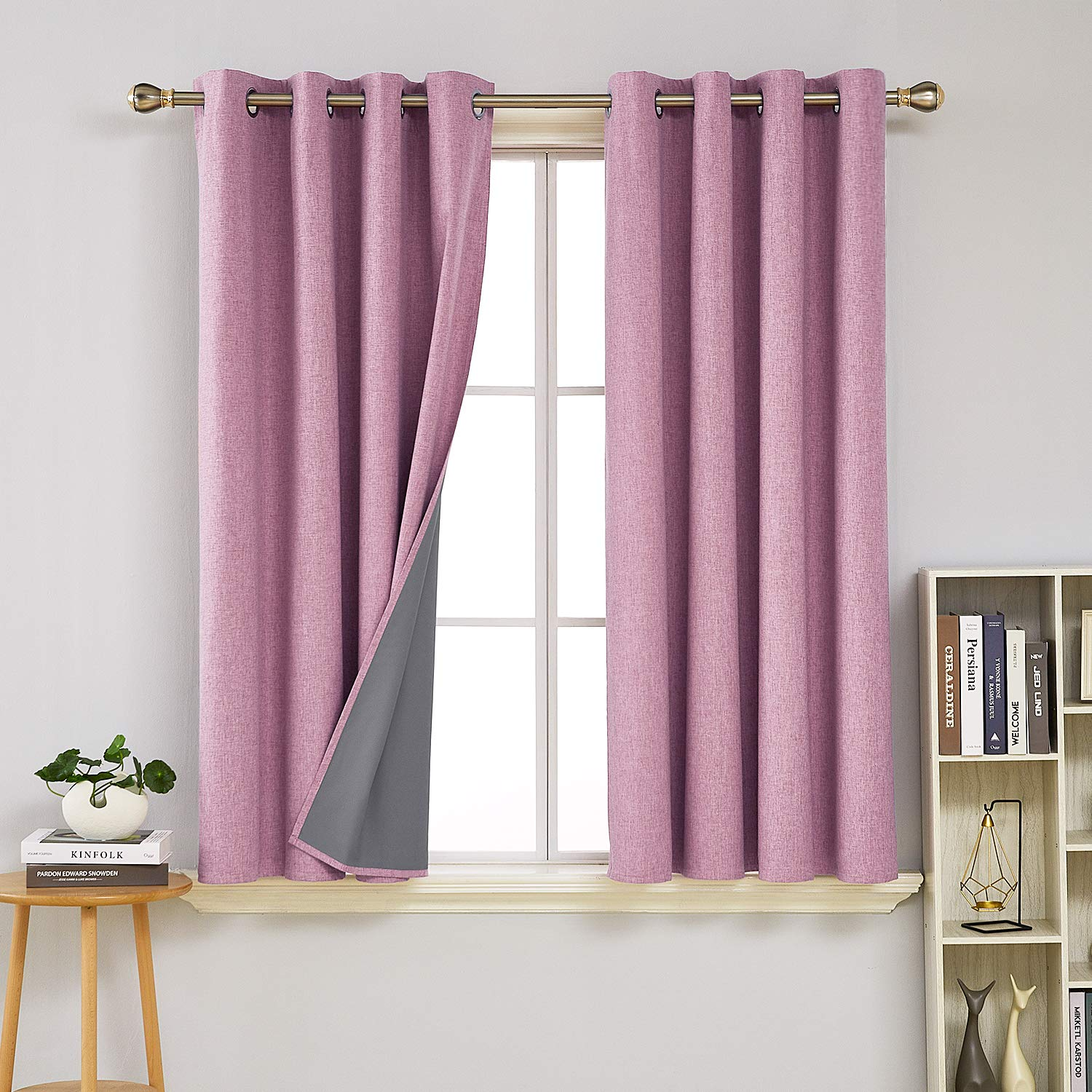 Deconovo Completely Room Darkening Blackout Curtains with Grey Coating Light Blocking Window Curtain for Girls Bedroom Pink 52W x 54L inch 2 Panels