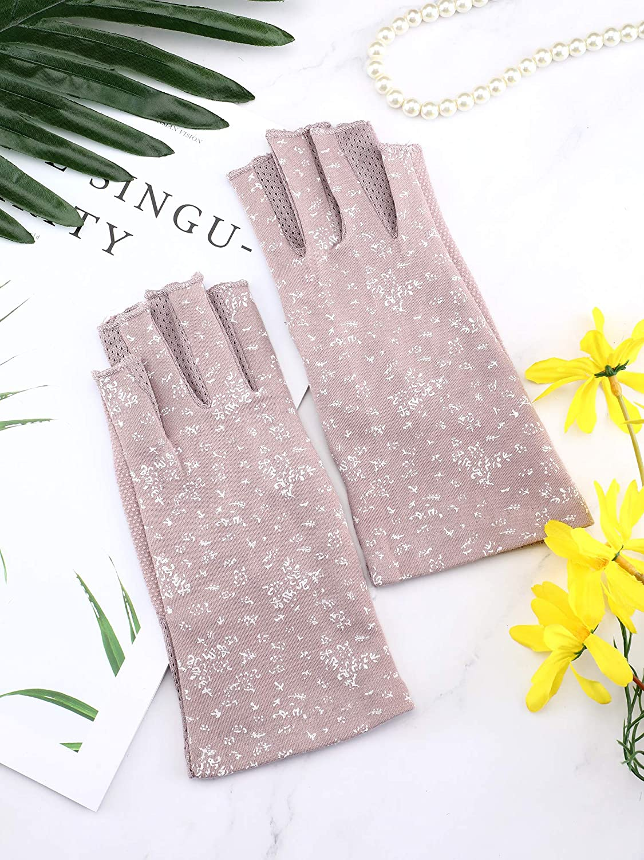 Maxdot 2 Pairs Women Sunblock Fingerless Gloves Non Skid Summer Gloves UV Protection Driving Gloves Dark Purple, Khaki