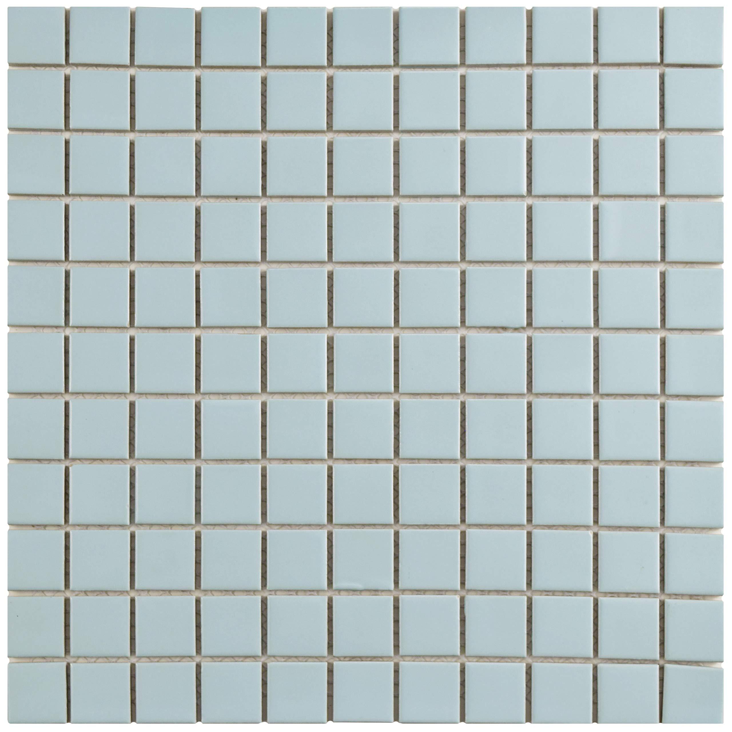 SomerTile FXLMS1BL Retro Square Porcelain Floor and Wall Tile, 11.75'' x 11.75'', Matte Light Blue
